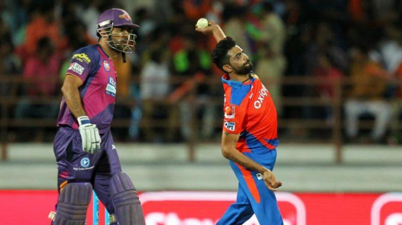Ravindra Jadeja playing in IPL from the team Gujarat Lions
