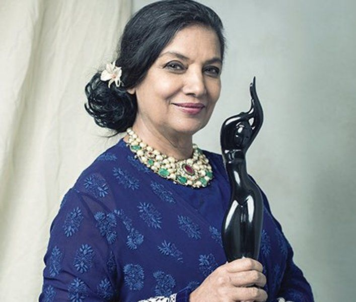 Shabana Azmi With Her Filmfare Award