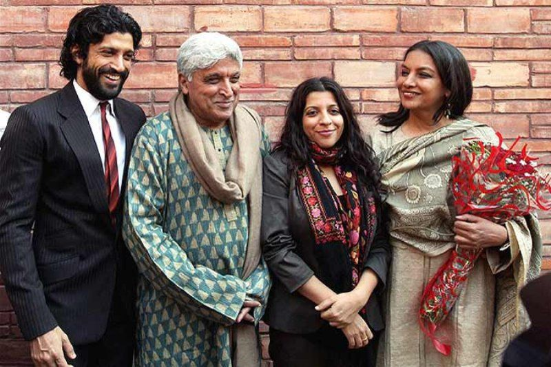 Shabana Azmi With Husband Javed And Step Son And Daughter Farhan And Zoya Akhtar