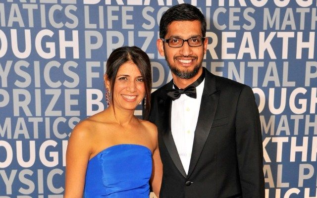Sundar Pichai and his wife, Anjali