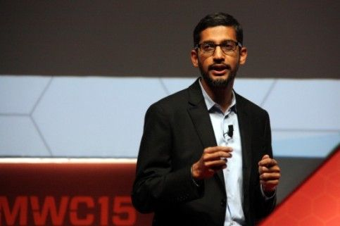 Sundar Pichai at Mobile World Congress in Barcelona, Spain