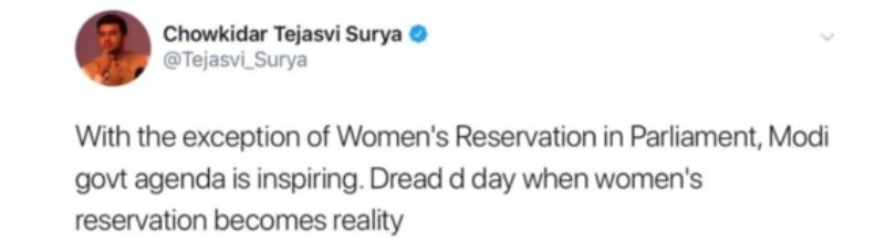 Tejasvi Surya's Tweet On Women Reservation