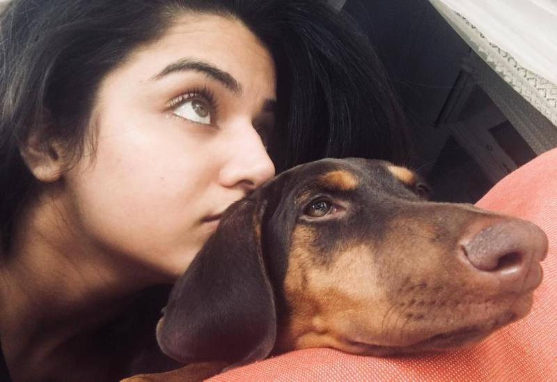 Wamiqa Gabbi with her dog