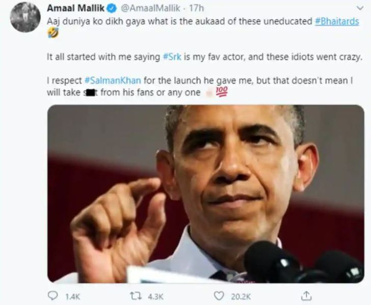 Amaal Mallik's Tweet in which he lashed out at the trollers (so called Salman Khan fans)