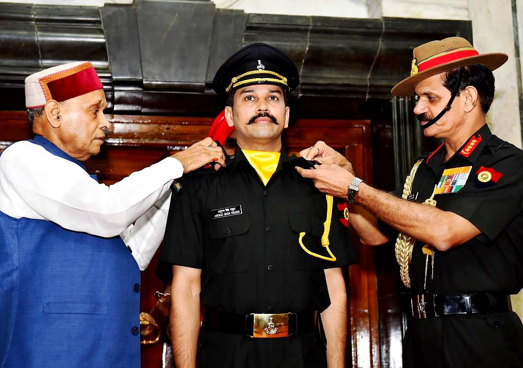 Anurag Thakur Being Commissioned As An Officer Of The Territorial Army