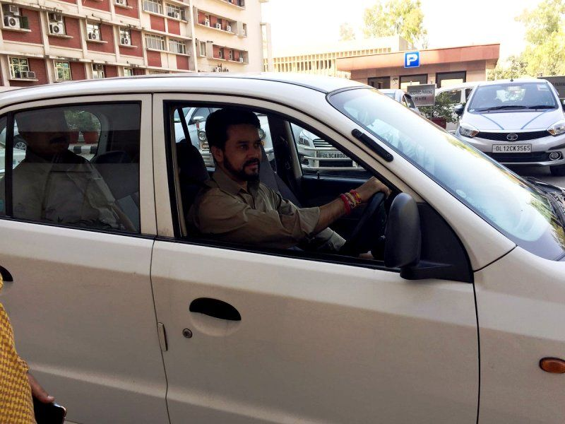 Anurag Thakur In His Hyundai Santro