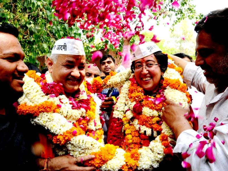 Atishi With Manish Sisodia After Being Named Lok Sabha Candidate From East Delhi