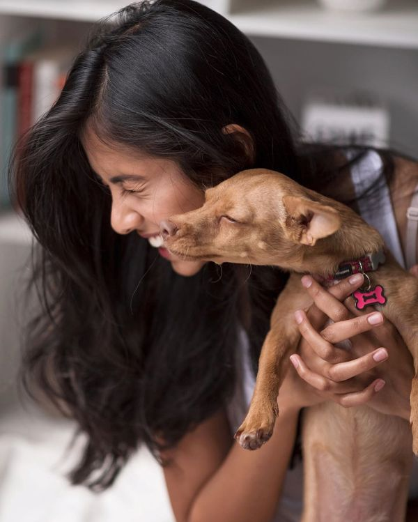 Dishani Chakraborty With Her Dog, Nala