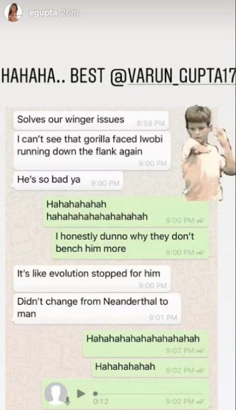 Esha Gupta's Whatsapp Chat About Alexander Iwobi