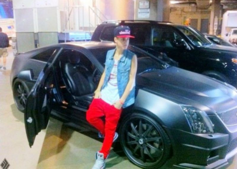 Justin Bieber With His Cadillac CTS-V