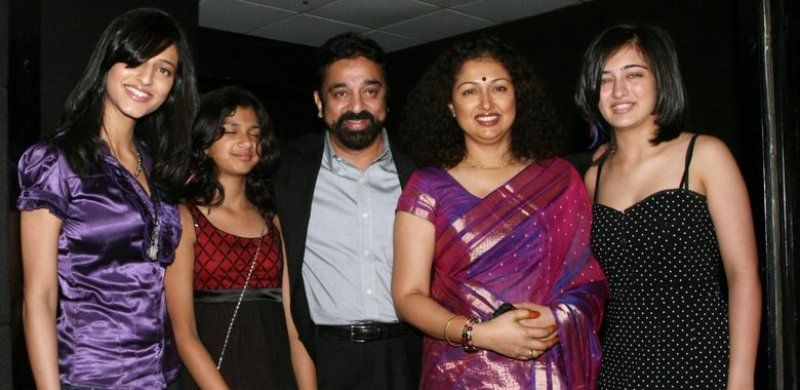 Kamal Haasan With His Three Daughters And Gautami Tadimalla