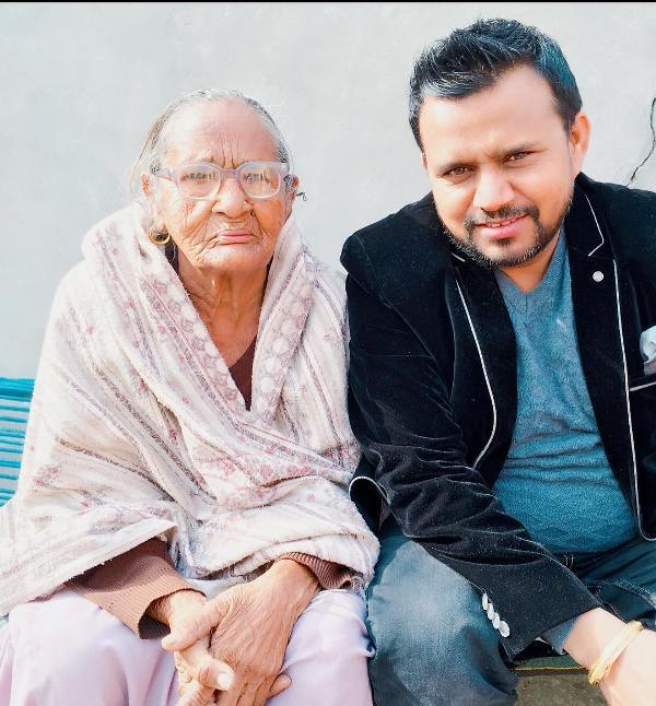 Karamjit Anmol with his mother