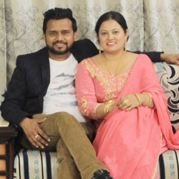 Karamjit Anmol with his wife