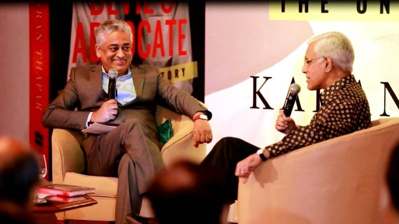 Karan Thapar With Rajdeep Sardesai During The Launch Of His Book