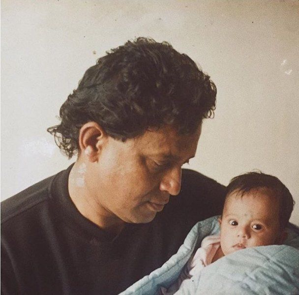 Little Dishani Chakraborty With Her Father Mithun
