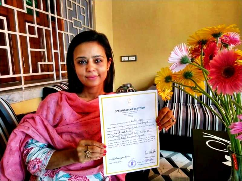 Mahua Moitra With Her 2019 Lok Sabha Elections Victory Certificate