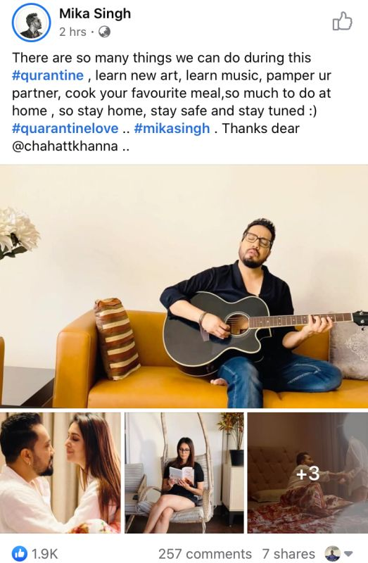 Mika Singh's post about Chahatt Khanna