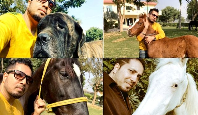 Mika Singh with his pets