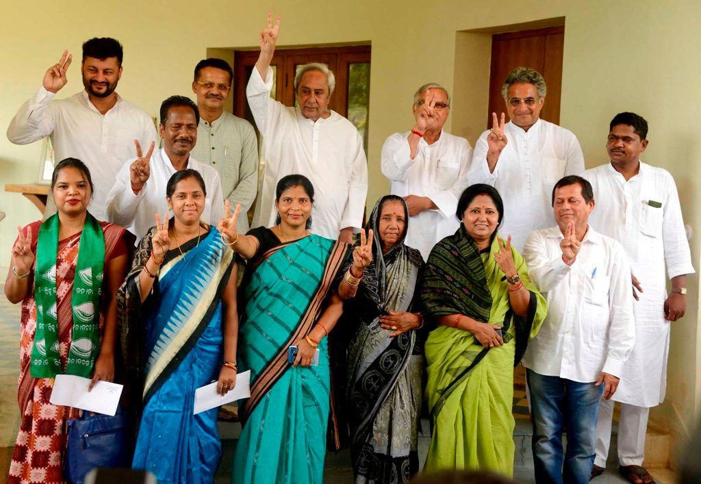Naveen Patnaik With Chandrani Murmu And The Newly Elected MP's Of BJD