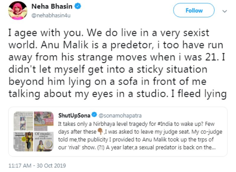 Neha Bhasin's Tweet about Anu Malik