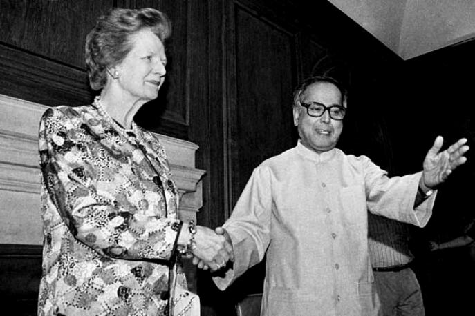 Pranab Mukherjee With Former British PM Margaret Thatcher