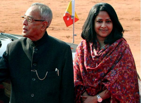 Pranab Mukherjee With His Daughter Sharmistha Mukherjee