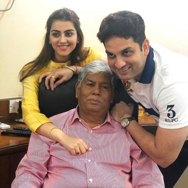 Priyanka Chibber with her husband and father-in-law
