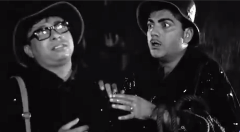 R. D. Burman With Mehmood In A Scene From Bhoot Bangla