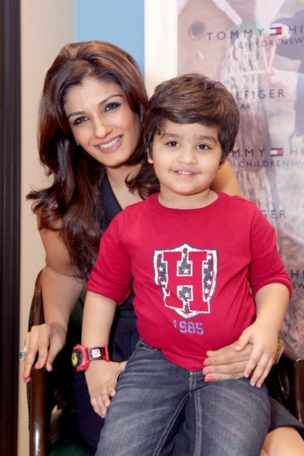 Raveena Tandon with her son