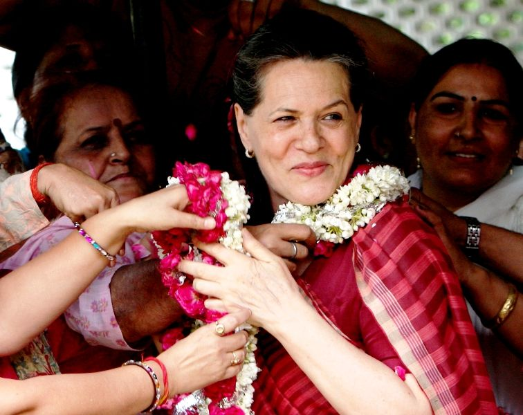 Sonia Gandhi After Being Elected As The Leader Of The UPA