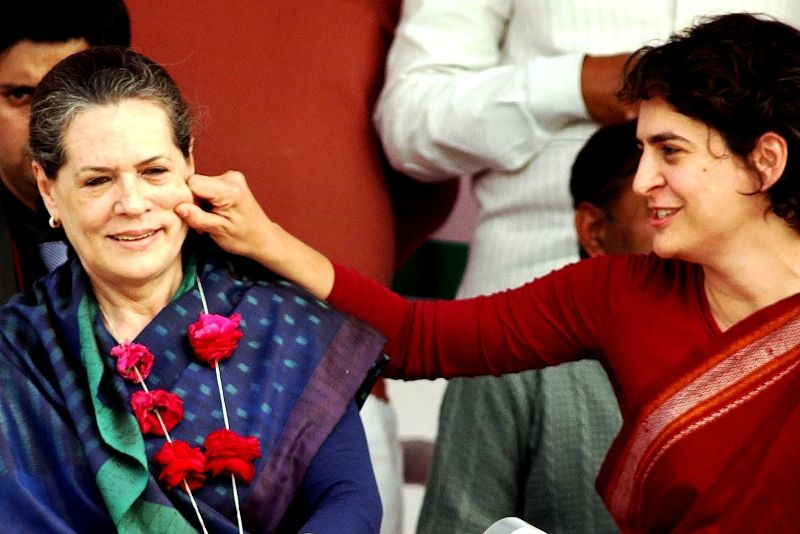Sonia Gandhi With Her Daughter Priyanka Gandhi