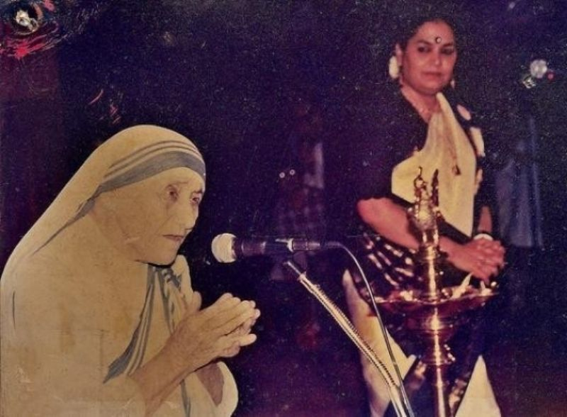 Usha Uthup With Mother Teresa