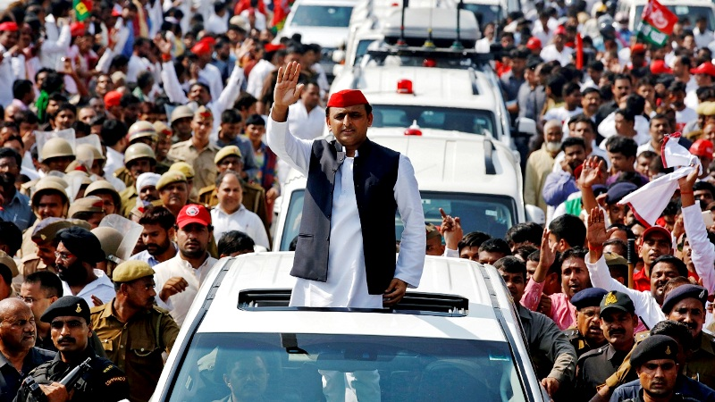 Akhilesh Yadav During A Road Show