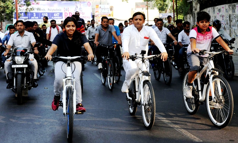 Akhilesh Yadav Cycling With His Children