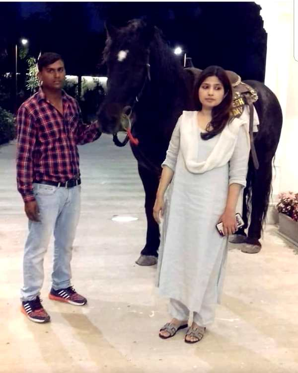 Dimple Yadav With Her Favourite Horse