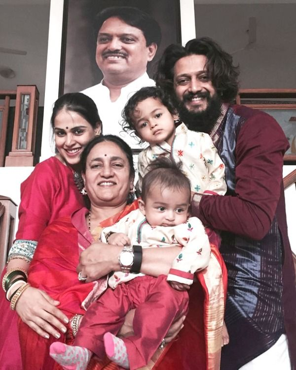 Genelia D'Souza's with her Mother-In-Law, Husband, and Sons Riaan and Rahyl