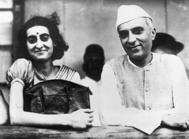 Indira Gandhi with her father, Jawaharlal Nehru
