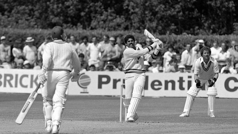 Kapil Dev playing a shot against Zimbabwe in World Cup