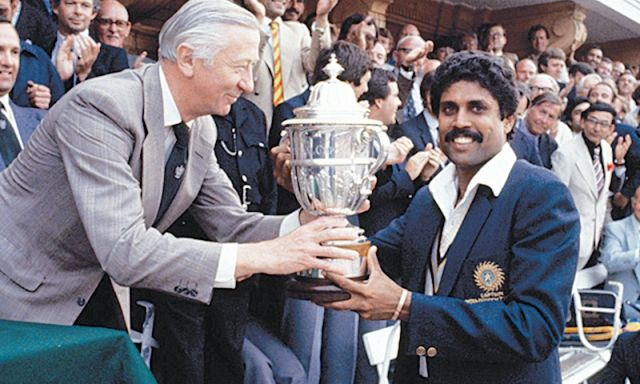 Kapil Dev with World Cup Trophy