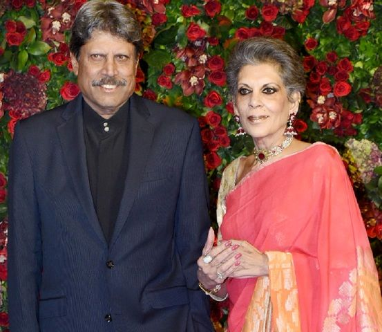Kapil Dev with his wife Romi Bhatia
