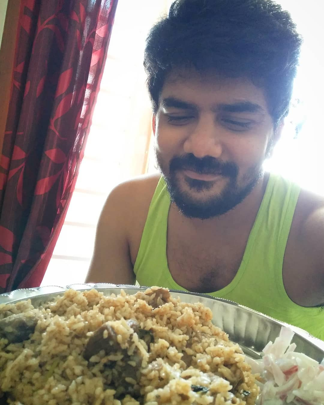 Kavin eating Biryani