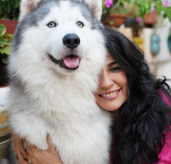 Mini Mathur with her Husky