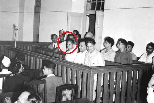 Nathuram Godse (red circle) along with Narayan Apte and other convicted