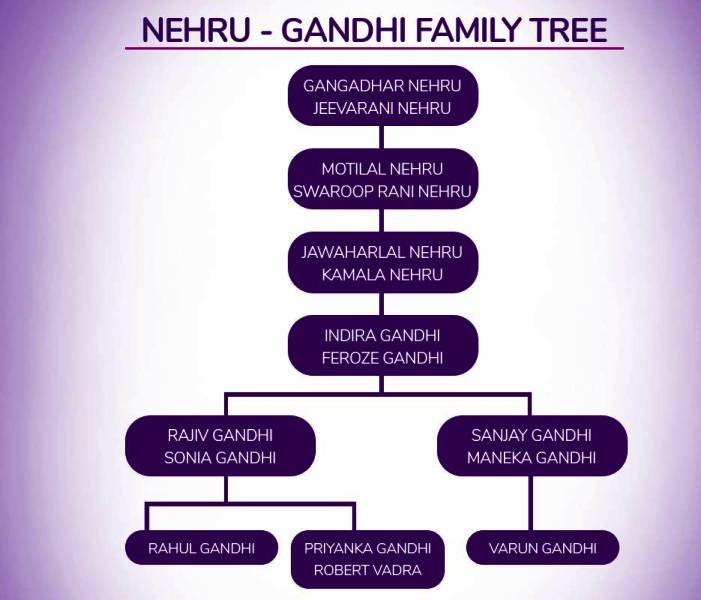 Nehru Gandhi Family Tree
