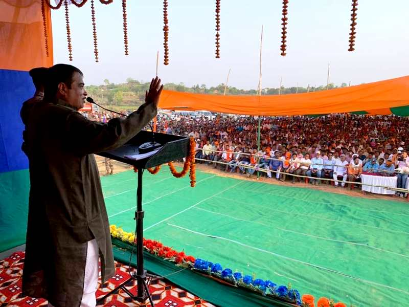Nitin Gadkari Addressing A Rally