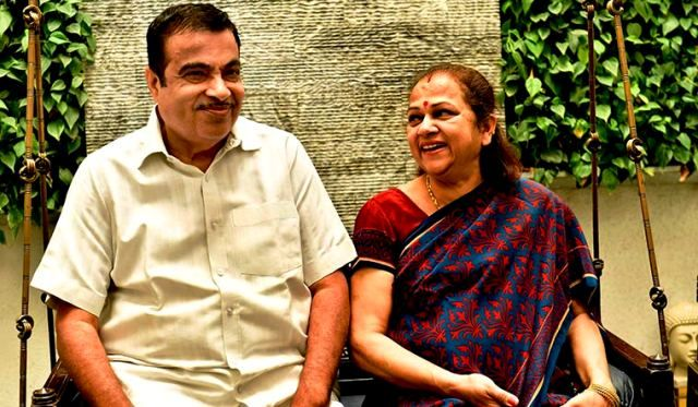 Nitin Gadkari With His Wife Kanchan Gadkari