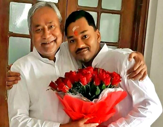 Nitish Kumar With His Son Nishant Kumar