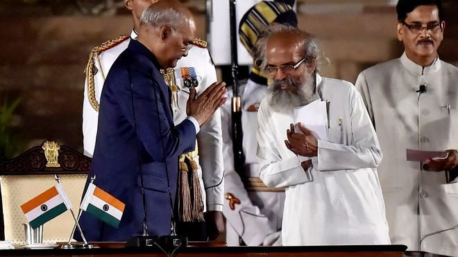 Pratap Chandra Sarangi With Ram Nath Kovind During The Oath Taking Ceremony