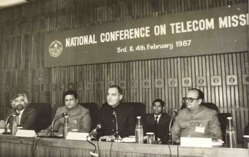 Rajiv Gandhi Addressing A Conference On Telecom