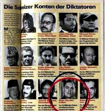 Rajiv Gandhi Named In The Swiss Magazine Schweizer Illustrierte